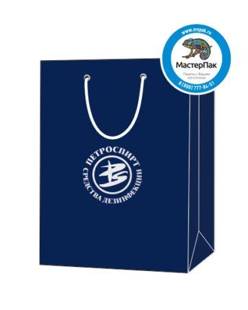 """Пакет подарочный, бумажный, 25*36, 200 гр.,с люверсами, ручка шнур, с логотипом """"ПЕТРОСПИРТ"""", Санкт-Петербург"""