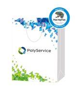 """Пакет подарочный, бумажный, 25*36, 200 гр.,с люверсами, ручка шнур, с логотипом """"PolyService"""", Москва"""