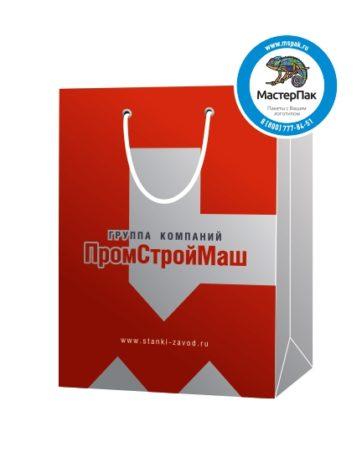 """Пакет подарочный, бумажный, 25*36, 200 гр.,с люверсами, ручка шнур, с логотипом """"ПромСтройМаш"""", Оренбург"""