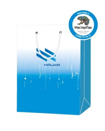 """Пакет подарочный, бумажный, 30*40, 200 гр.,с люверсами, ручка шнур, с логотипом """"NAUKA"""", Москва"""