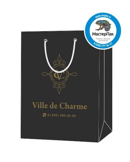 """Пакет подарочный, бумажный, 20*30, 200 гр.,с люверсами, ручка шнур, с логотипом """"Ville de Charme"""", Москва"""