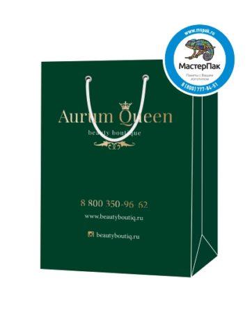 """Пакет подарочный, бумажный, 25*36, 200 гр.,с люверсами, ручка шнур, с логотипом """"Aurum Queen"""", Санкт-Петербург"""