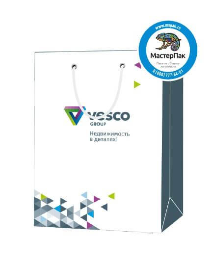 """Пакет подарочный, бумажный, 25*36, 200 гр.,с люверсами, ручка шнур, с логотипом """"VESCO"""", Москва"""