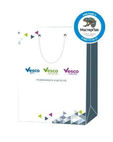 """Пакет подарочный, бумажный, 25*36, 200 гр.,с люверсами, ручка шнур, с логотипом """"VESCO """", Москва"""