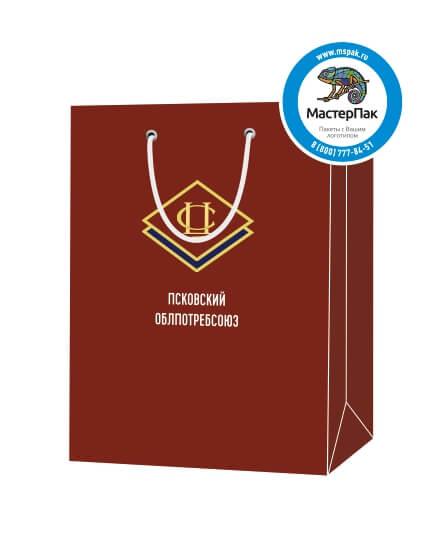 """Пакет подарочный, бумажный, 30*40, 200 гр.,с люверсами, ручка шнур, с логотипом """"Псковский ОБЛПОТРЕБСОЮЗ"""", Псков"""