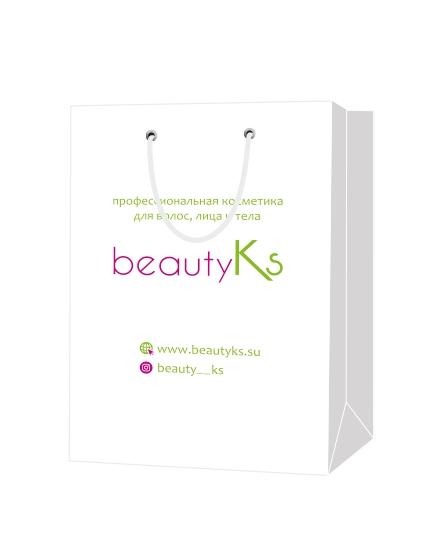 Пакет подарочный, бумажный, 25*36, 200 гр.,с люверсами, с логотипом Beauty Ks, Москва