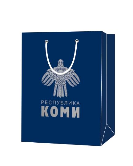 """Пакет подарочный, бумажный, 25*35, 200 гр.,с люверсами, ручка шнур, с логотипом """"Республика КОМИ"""", Москва"""