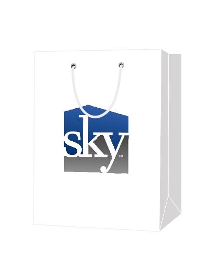 """Пакет подарочный, бумажный, 30*40, 200 гр.,с люверсами, ручка шнур, с логотипом """"SKY"""", Санкт-Петербург"""