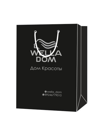 """Пакет подарочный, бумажный, 30*40, 200 гр.,с люверсами, ручка шнур, с логотипом """"Wella DOM"""", Благовещенск"""