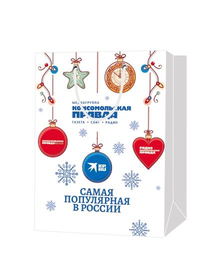"""Пакет подарочный, бумажный, 30*40, 200 гр.,с люверсами, ручка шнур, с логотипом """"Комсомольская Правда"""", Москва"""