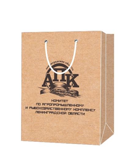 """Пакет подарочный, бумажный, 38*50, 200 гр.,с люверсами, ручка шнур, с логотипом """"АПК"""", Санкт-Петербург"""