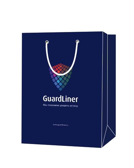 Пакет подарочный, бумажный, 30*40, 200 гр.,с люверсами, ручка шнур, с логотипом GuardLiner, Москва