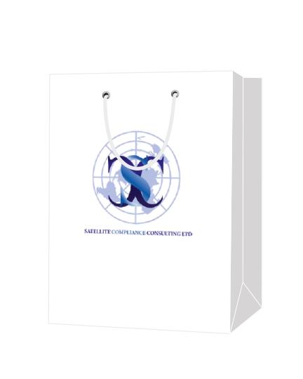 """Пакет подарочный, бумажный, 30*40, 200 гр.,с люверсами, ручка шнур, с логотипом """"Satellite Compliance Consulting Ltd"""", Санкт- Петербург"""