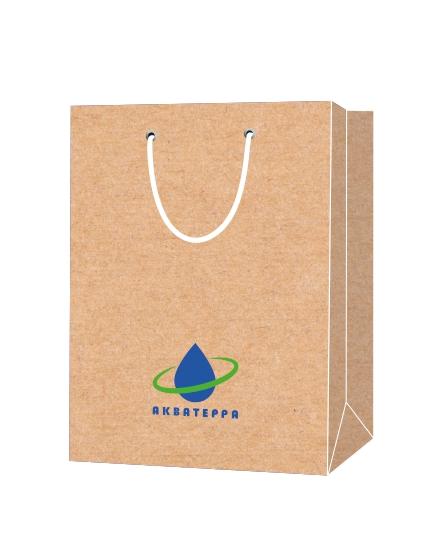 """Пакет подарочный, бумажный, 25*36, 200 гр.,с люверсами, ручка шнур, с логотипом """"Акватерра"""", Москва"""