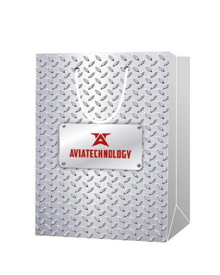 """Пакет подарочный, бумажный, 25*35, 200 гр.,с люверсами, ручка шнур, с логотипом """"AVIATECHNOLOGY"""", Москва"""