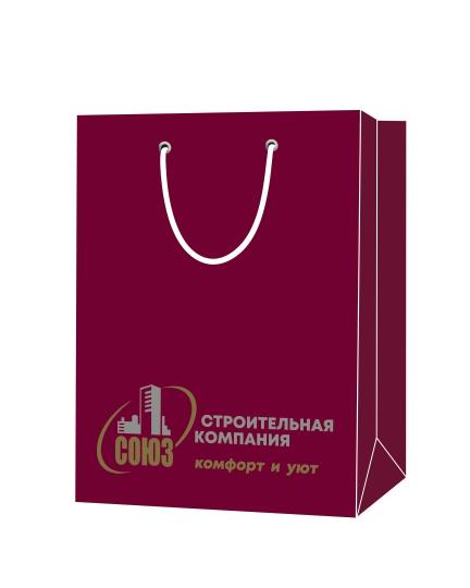 """Пакет подарочный, бумажный, 30*40, 200 гр.,с люверсами, ручка шнур, с логотипом """"Строительная компания """"СОЮЗ"""", Москва"""