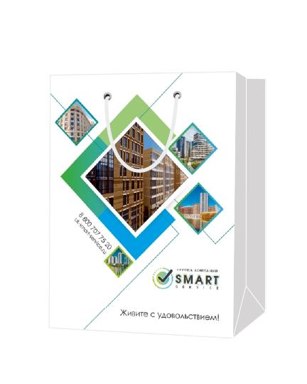 """Пакет подарочный, бумажный, 30*40, 200 гр.,с люверсами, ручка шнур, с логотипом """"SMART"""", Москва"""