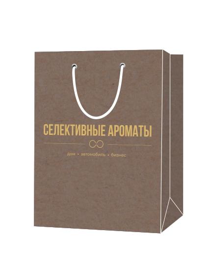 """Пакет подарочный, бумажный, 30*40, 200 гр.,с люверсами, ручка шнур, с логотипом """"Селективные Ароматы"""", Москва"""