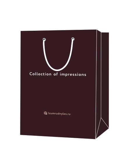 """Пакет подарочный, бумажный, 25*35, 200 гр.,с люверсами, ручка шнур, с логотипом """"collection of impressions"""", Клин"""