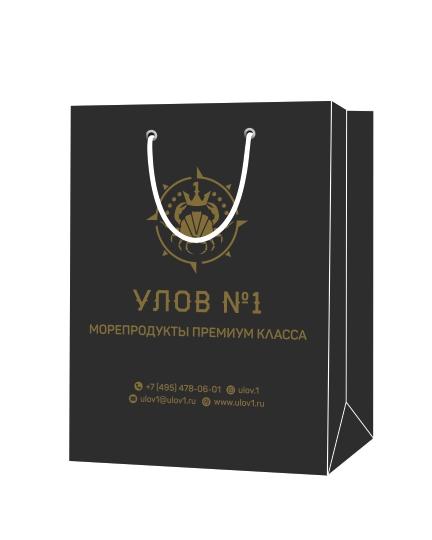 """Пакет подарочный, бумажный, 35*25, 200 гр.,с люверсами, ручка шнур, с логотипом """"УЛОВ №1"""", Москва"""