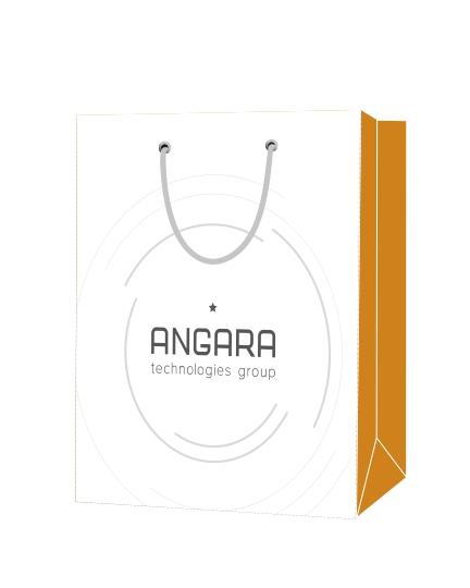 """Пакет подарочный, бумажный, 34*38, 200 гр.,с люверсами, ручка шнур, с логотипом """"ANGARA"""", Москва"""