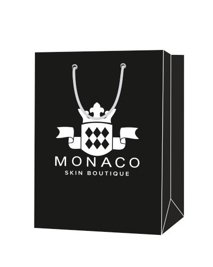 """Пакет подарочный, бумажный, 20*30, 200 гр.,с люверсами, ручка шнур, с логотипом """"MONACO"""", Благовещенск"""