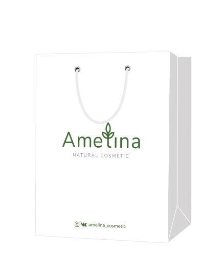 """Пакет подарочный, бумажный, 30*40, 200 гр.,с люверсами, ручка шнур, с логотипом """"AMELINA"""", Москва"""