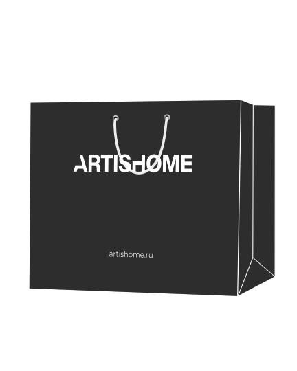 """Пакет подарочный, бумажный, 45*40, 200 гр.,с люверсами, ручка шнур, с логотипом """"ArtisHome"""", Санкт-Петербург"""