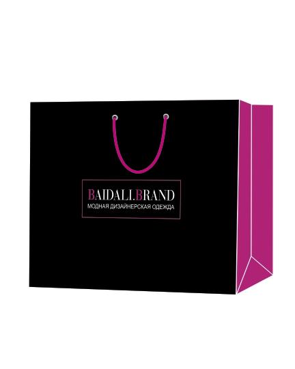 """Пакет подарочный, бумажный, 40*30, 200 гр.,с люверсами, ручка шнур, с логотипом """"Baidali.Brand"""", Томск"""