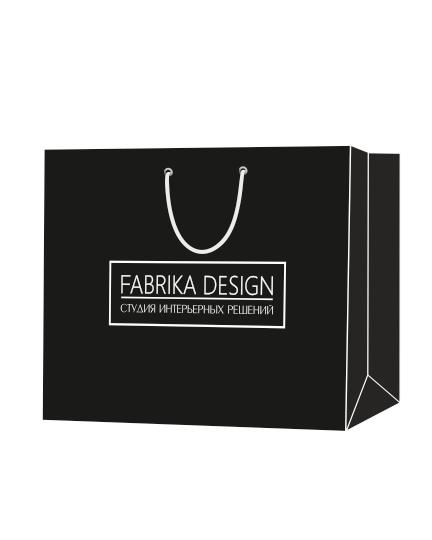 """Пакет подарочный, бумажный, 50*38, 200 гр.,с люверсами, ручка шнур, с логотипом """"Fabrika Design"""", Ханты-Мансийск"""