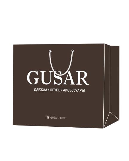 """Пакет подарочный, бумажный, 50*40, 200 гр.,с люверсами, ручка шнур, с логотипом """"GUSAR"""", Санкт-Петербург"""