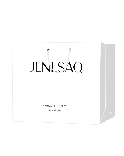 """Пакет подарочный, бумажный, 63*50, 200 гр.,с люверсами, ручка шнур, с логотипом """"JENESAQ"""", Москва"""