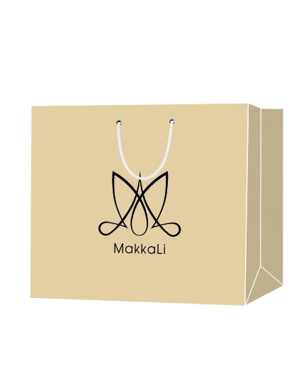 """Пакет подарочный, бумажный, 40*30, 200 гр.,с люверсами, ручка шнур, с логотипом """"MakkaLi"""", Москва"""