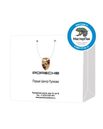 Пакет подарочный, бумажный, 25*32, 200 гр.,с люверсами, ручка шнур, с логотипом PORSCHE, Санкт-Петербург