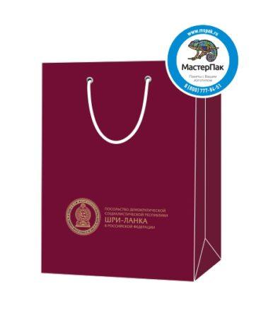 Пакет подарочный, бумажный, 25*36, 200 гр.,с люверсами, ручка шнур, с логотипом Посольство Шри-Ланка, Москва