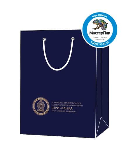 Пакет подарочный, бумажный, 30*40, 200 гр.,с люверсами, ручка шнур, с логотипом Посольство Шри-Ланка, Москва