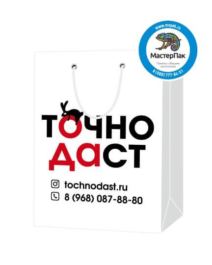 Пакет подарочный, бумажный, 25*35, 200 гр.,с люверсами, ручка шнур, с логотипом Точно Даст, Москва