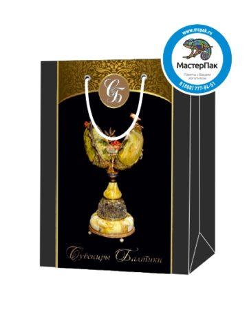 Пакет подарочный, бумажный, 30*40, 200 гр.,с люверсами, ручка шнур, с логотипом Сувениры Балтики, Санкт-Петербург