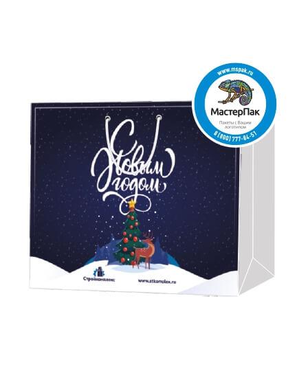Пакет подарочный, бумажный, 50*40, 200 гр.,с люверсами, ручка шнур, с логотипом С Новым Годом, Москва