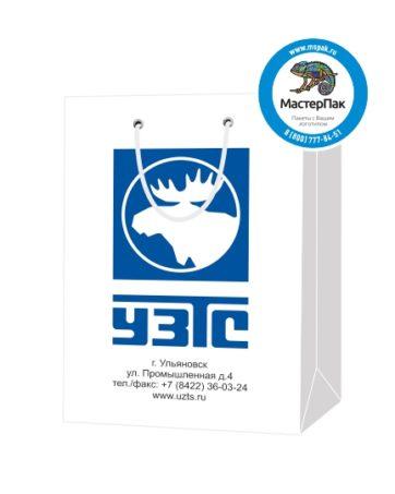 Пакет подарочный, бумажный, 25*36, 200 гр.,с люверсами, ручка шнур, с логотипом УЗТС, Ульяновск