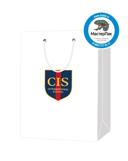 Пакет подарочный, бумажный, 25*36, 200 гр.,с люверсами, ручка шнур, с логотипом CIS, Санкт-Петербург