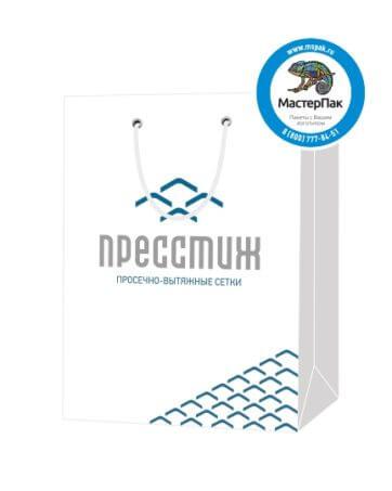 Пакет подарочный, бумажный, 35*25, 200 гр.,с люверсами, ручка шнур, с логотипом Пресстиж, Санкт-Петербург