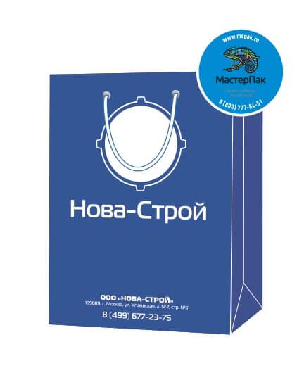 Пакет подарочный, бумажный, 30*40, 200 гр.,с люверсами, ручка шнур, с логотипом Нова-Строй, Москва