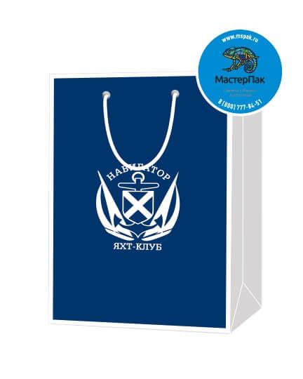 Пакет подарочный, бумажный, 30*40, 200 гр.,с люверсами, ручка шнур, с логотипом Навигатор, Москва