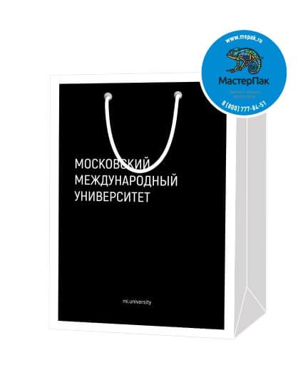 Пакет подарочный, бумажный, 20*30, 200 гр.,с люверсами, ручка шнур, с логотипом Московский Международный Университет, Москва