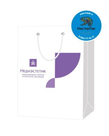 Пакет подарочный, бумажный, 20*26, 200 гр.,с люверсами, ручка шнур, с логотипом Медиэстетик, Санкт-Петербург