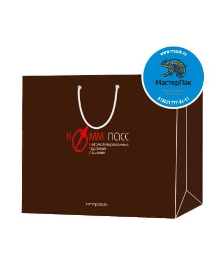 Пакет подарочный, бумажный, 35*25, 200 гр.,с люверсами, ручка шнур, с логотипом Комм Пасс, Москва