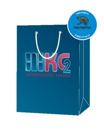 Пакет подарочный, бумажный, 30*40, 200 гр.,с люверсами, ручка шнур, с логотипом ЖКС 2, Санкт-Петербург