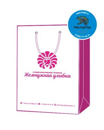 Пакет подарочный, бумажный, 25*35, 200 гр.,с люверсами, ручка шнур, с логотипом Жемчужная улыбка, Сургут