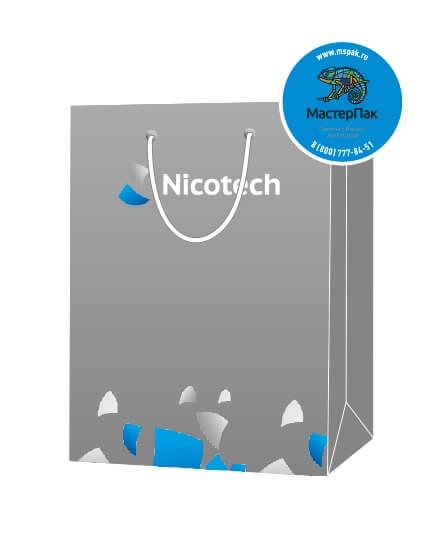 Пакет подарочный, бумажный, 25*35, 200 гр.,с люверсами, ручка шнур, с логотипом Nicotech, Москва